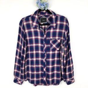 Rails Plaid Button Down Shirt Navy Red Flannel M